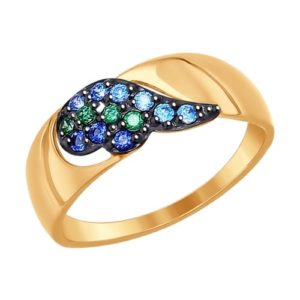 Кольцо из золота с зелеными и синими фианитами