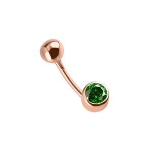 Пирсинг в пупок из золота с зелёным фианитом