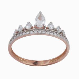 Кольцо из серебра с Фианитом Корона