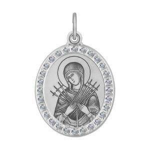 Икона Б.М. Семистрельная из серебра