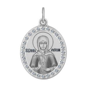 Икона Святая Блаженная Матрона Московская из серебра