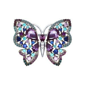 Брошь из серебра с Цветными фианитами Бабочка