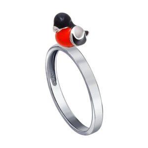 Кольцо из Серебра с Эмалью Снегирь
