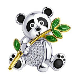 Брошь из серебра с эмалью и фианитами Панда