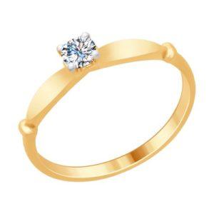 Кольцо из Золочёного серебра с Кристаллами Сваровски