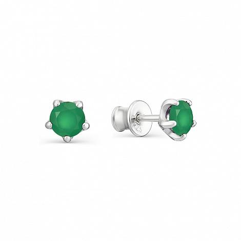 Серьги-пусеты из Серебра с Зелёными агатами