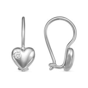 Серьги детские Сердечки из серебра с Фианитами