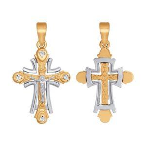 Подвеска Крест из Комбинированного золота с Фианитами