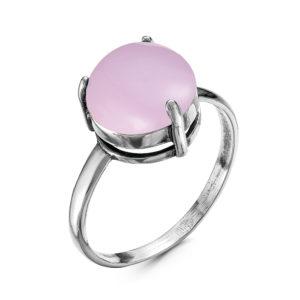 Кольцо итз Серебра с Розовым кварцем