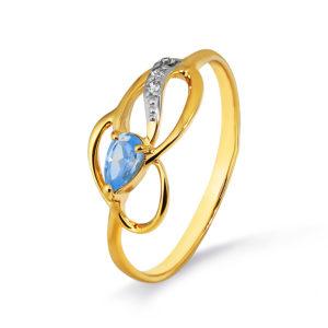 Кольцо из золота с Топазом и Фианитом