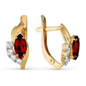 Серьги из золота с Гранатами и Фианитами