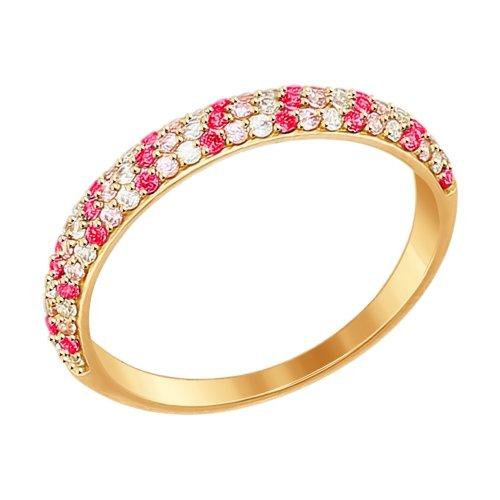 Кольцо из золота с бесцветными, красными и розовыми фианитами