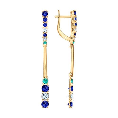 Серьги длинные из золота с синими и зелеными фианитами