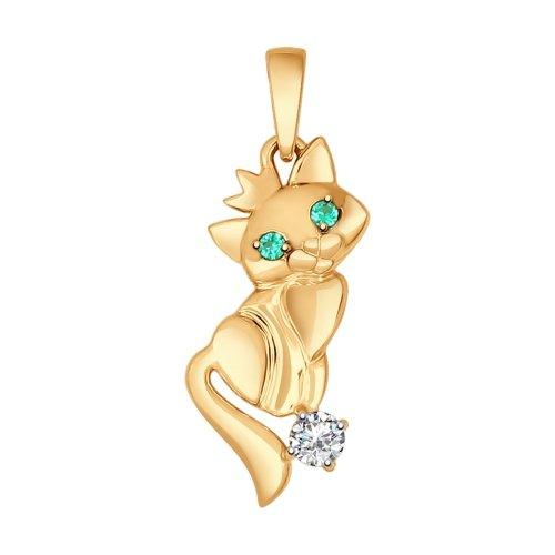 Подвеска «Кошечка» из золота с зелёными фианитами