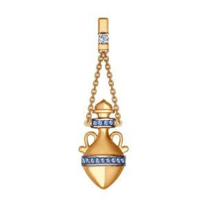 Подвеска из золота с синими и бесцветным фианитами