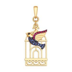 Подвеска из золота «Птица»