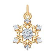 Подвеска из золота «Снежинка» с фианитами