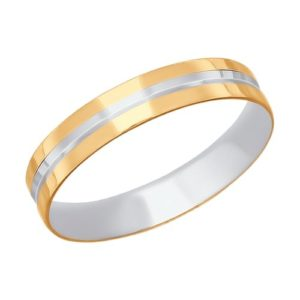 Кольцо обручальное из комбинированного золота с алмазной гранью