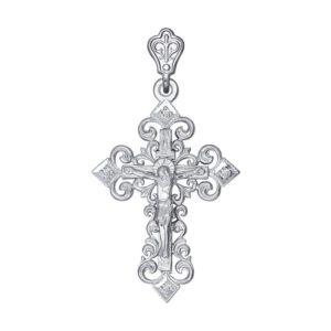 Крест из белого золота с фианитами