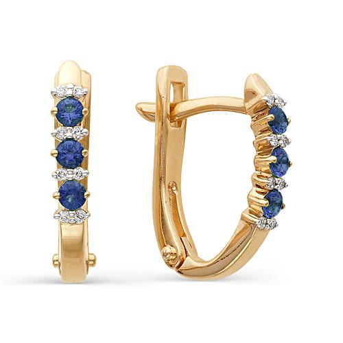 Серьги Дорожки из золота с бриллиантами и сапфирами