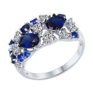 Кольцо из серебра с цветными фианитами