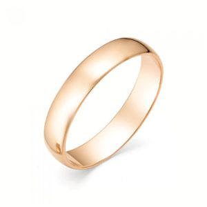 Кольцо обручальное из красного золота гладкое