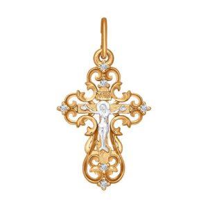 Подвеска из золота Крест с фианитами