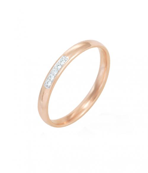Кольцо обручальное из красного золота с Фианитами