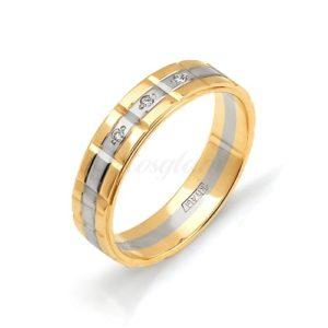 Кольцо обручальное из комбинированного золота с Бриллиантами