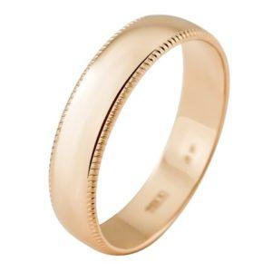 Кольцо обручальное из золота с алмазной гранью