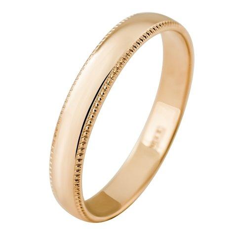 Кольцо обручальное гладкое с алмазной гранью