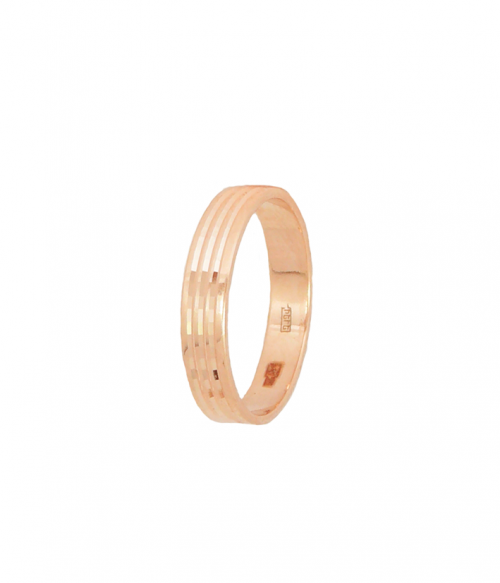 Кольцо обручальное из золота Шайба с алмазной гранью