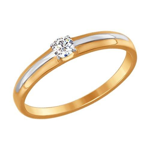 Кольцо из комбинированного золота с Фианитом
