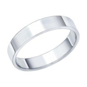 Кольцо обручальное из белого золота гладкое Шайба