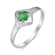 Кольцо из серебра с Зелёным агатом