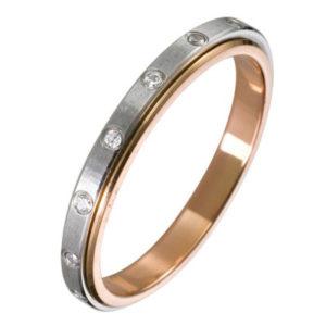 Кольцо обручальное с крутящейся вставкой с Бриллиантами