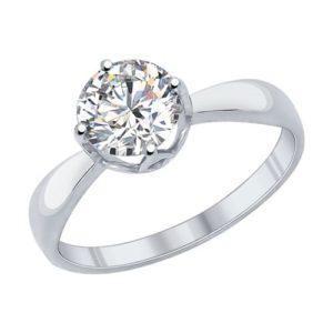 Кольцо из серебра с Фианитом Помолвочное