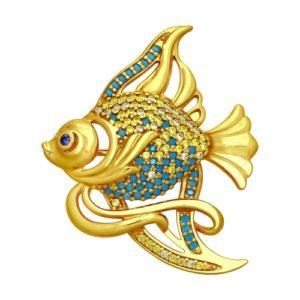 Брошь из золочёного серебра Золотая рыбка