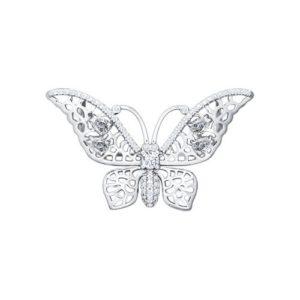 Брошь из серебра с Фианитами Бабочка