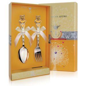 Набор из двух столовых предметов Мишки с сердечками с позолотой с футляром