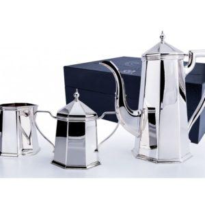 Серебряный кофейный сервиз из 3 предметов Элегант