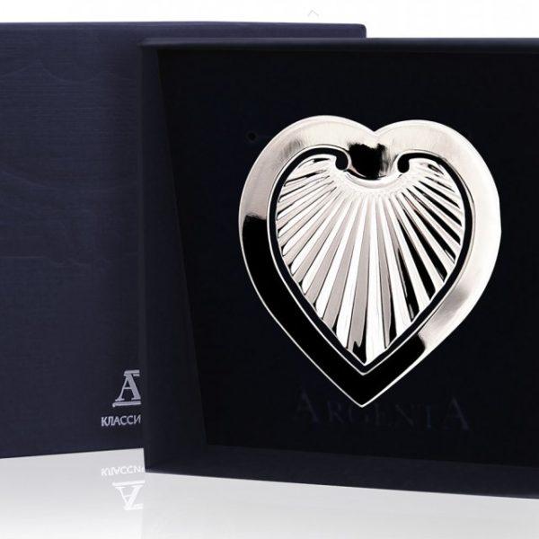 Закладка для книг из серебра Сердечко