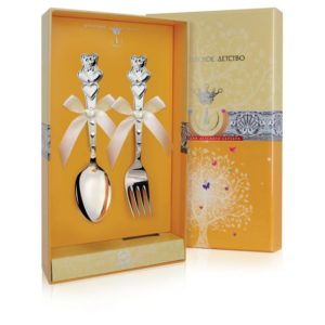 Набор из двух столовых предметов Мишки с сердечками с футляром