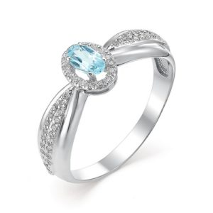 Кольцо из Серебра с Топазом Sky Blue и Фианитами