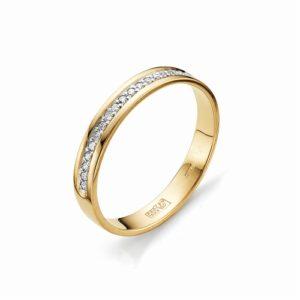 Кольцо обручальное из красного золота с бриллиантами Дорожка