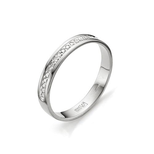 Кольцо обручальное из белого золота с бриллиантами Дорожка
