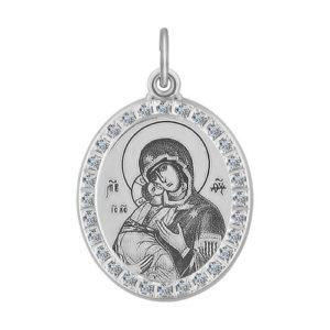 Икона Б.М.Владимирская из серебра