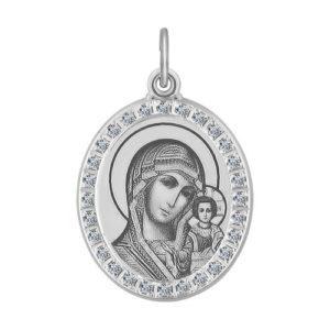 Икона Б.М.Казанская из серебра