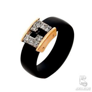 Кольцо из красного золота с Каучуком