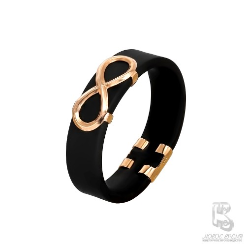 Кольцо из красного золота с Каучуком Бесконечность